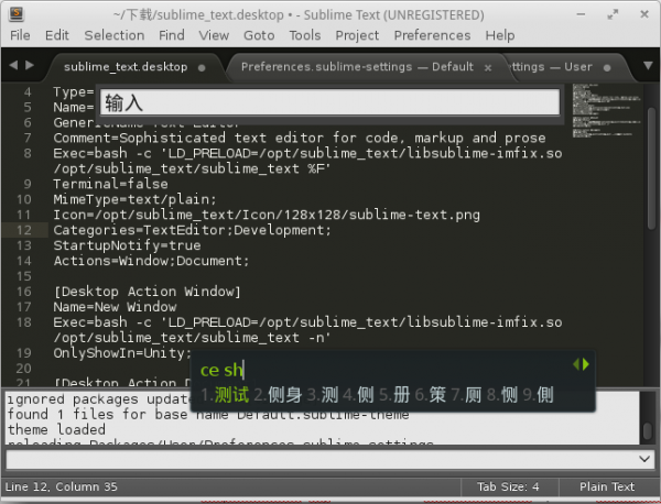 Sublime Text 3 with OpenSUSE & fcitx & Google Pinyin