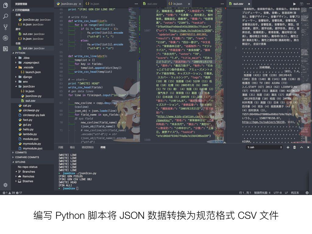 编写 Python 脚本将 JSON 数据转换为规范格式 CSV 文件