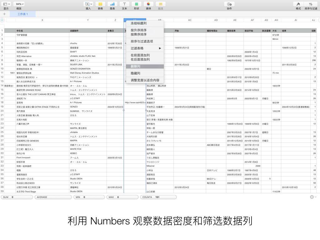利用 Numbers 观察数据密度和筛选数据列